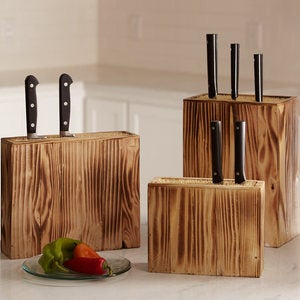 Sustainable Burnt Pine Wood Knife Block - Large