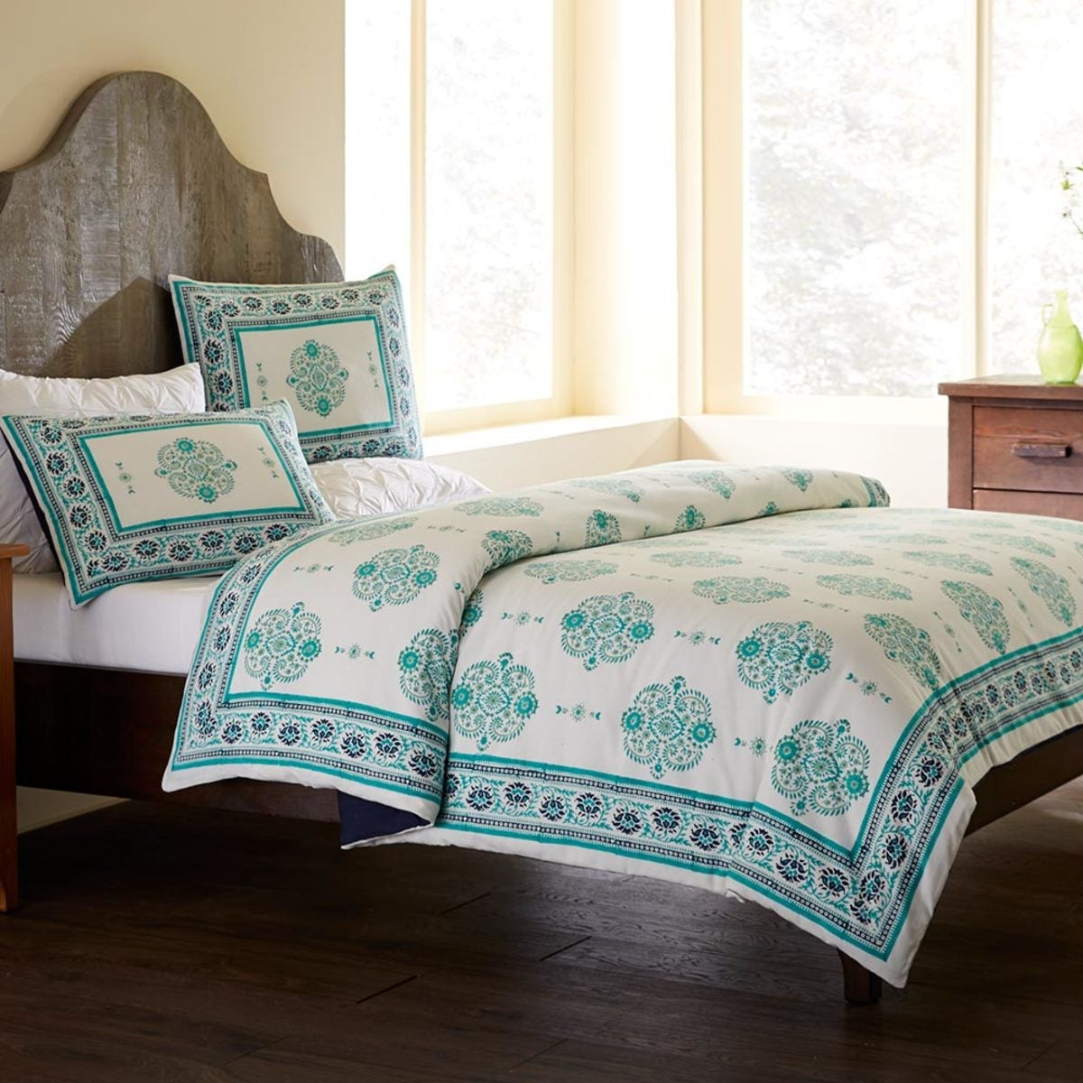 Aqua & Teal Paisley Block Print Duvet and Pillow Shams Set - Full/Queen - Aqua