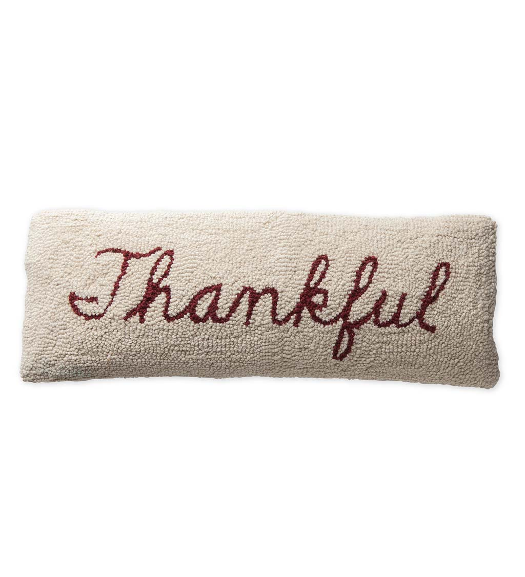 "Hand-Hooked Wool Thankful Lumbar Pillow 22"" x 8"""