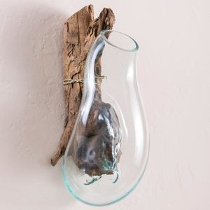 Teak and Blown Glass Vase Sculpture