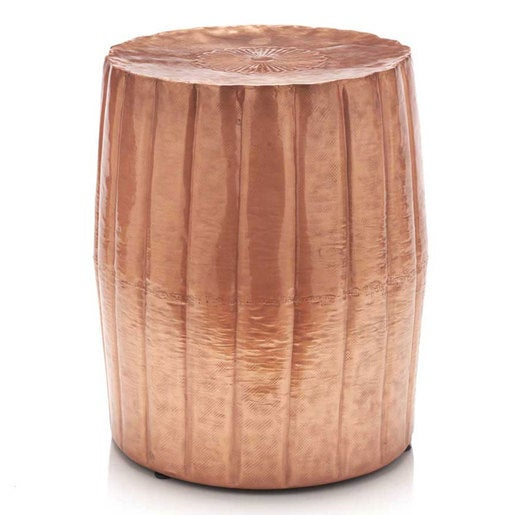 Tall Hammered Drum Accent Table
