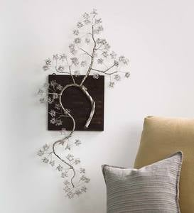 Silver Cherry Blossom Branch Wall Art