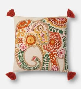 Floral Elephant Throw Pillow with Tassels