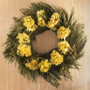 Yellow Hydrangea & Cedar Wreath