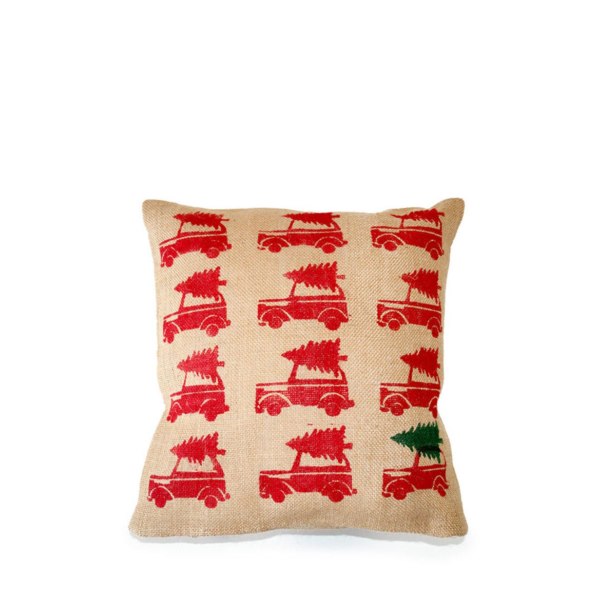 Christmas Wagon Decorative Pillow - Red with Dark Green