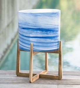 Blue Glass Planter on Stand, Large