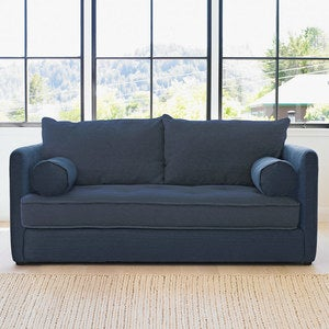 Eco Linen Sofa with Moonstone Base and Brussels Linen Cushions - Smoke - PLA