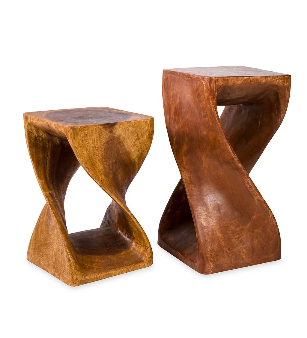 "Set of 2 Handcarved Twisty Stools - 23""&18"""