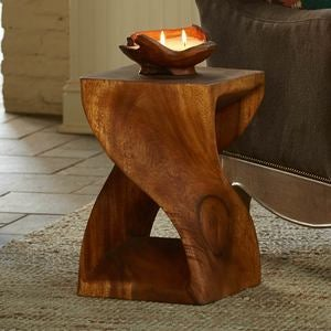 Handcarved Twisty Stool - 18""