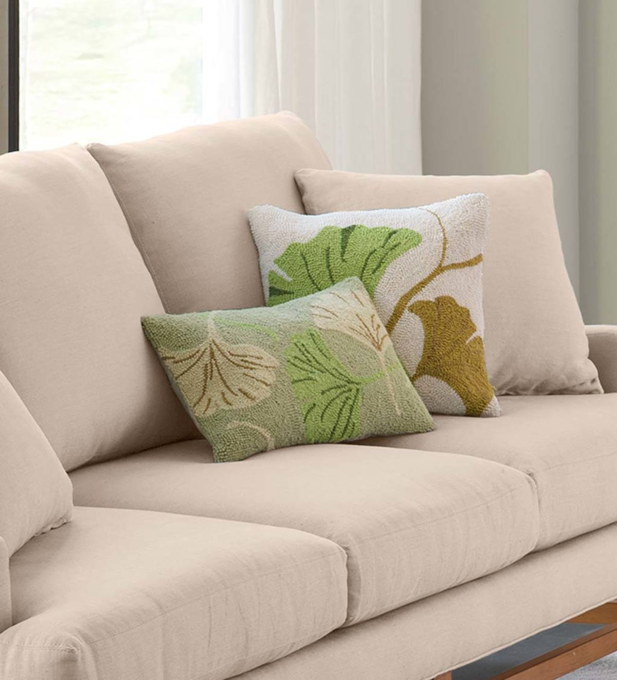 Hand Hooked Ginkgo Leaf Pillows