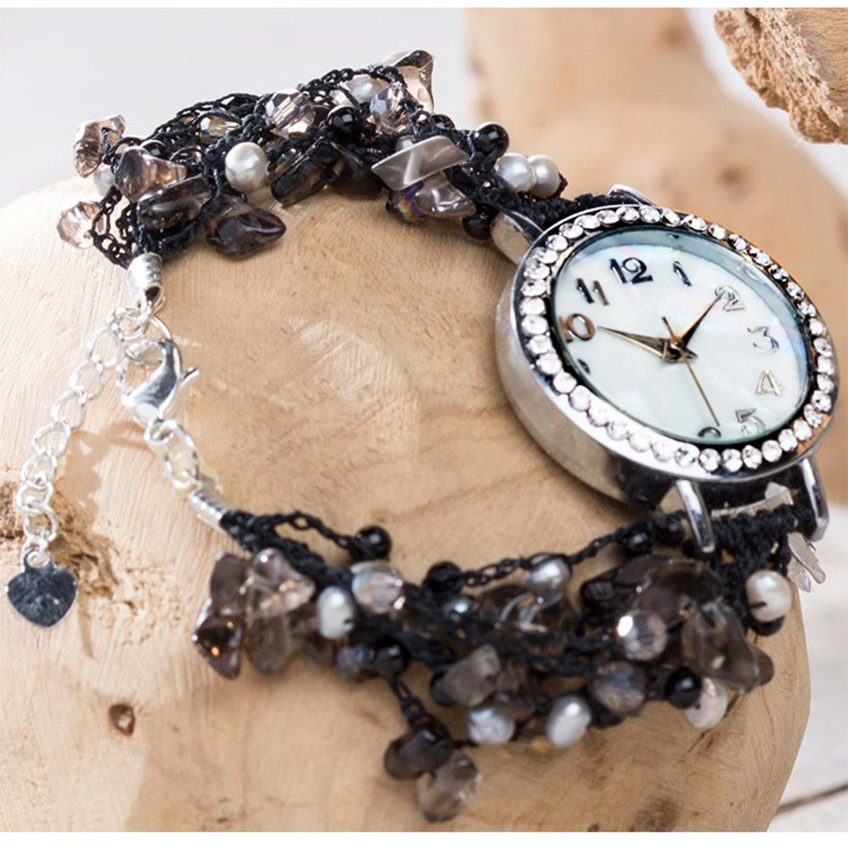 Hand-Beaded Agate And Pearl Watch