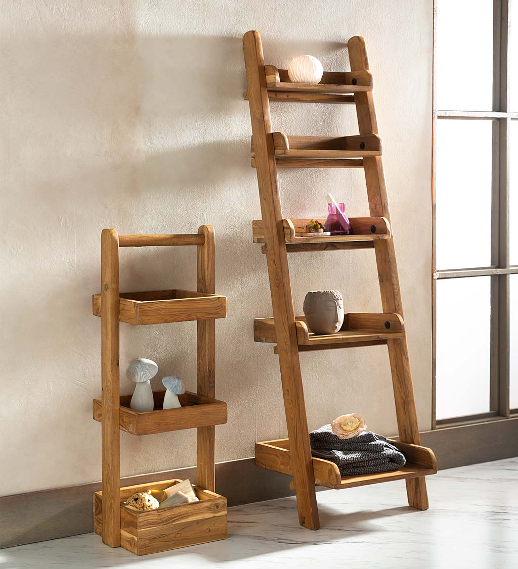3-Tiered Teak Wood Shelf Stand