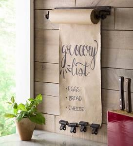 Hanging Kraft Paper Roll Stand with Brass Finish Clips