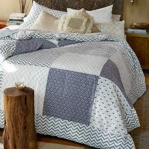 Blue Block-Printed Patchwork Mix Duvet Cover & Two King Shams - King
