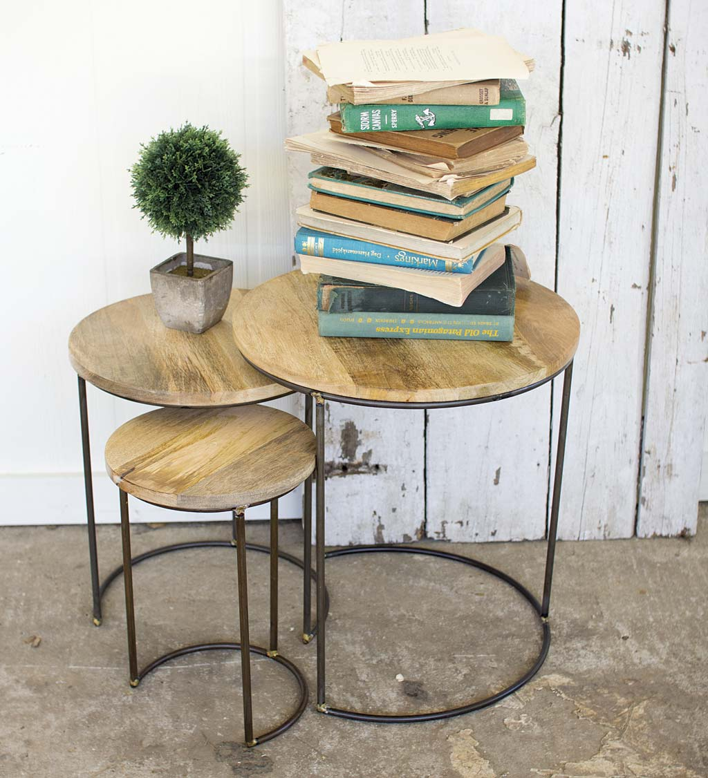 Iron and Mango Wood Top Nesting Tables, Set of 3