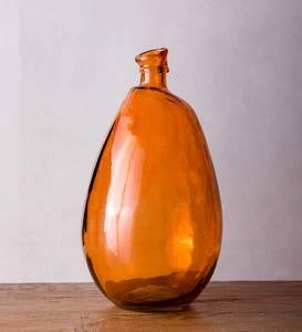 "Recycled Tall Glass Balloon Vase, 19"" - Orange"
