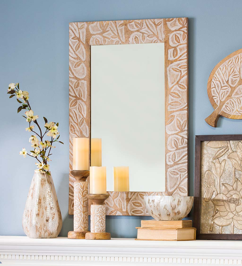 Hand-Carved Mango Wood Wall Mirror