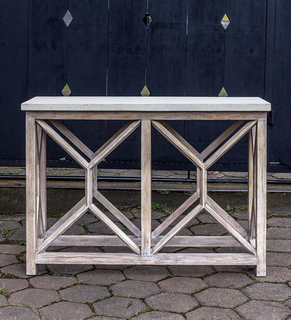 Handcrafted Stone&Wood Console Table