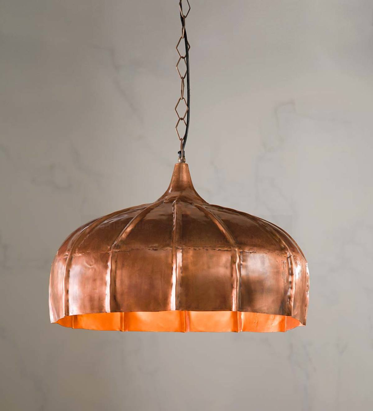 Oblong Hanging Lamp - Copper Finish