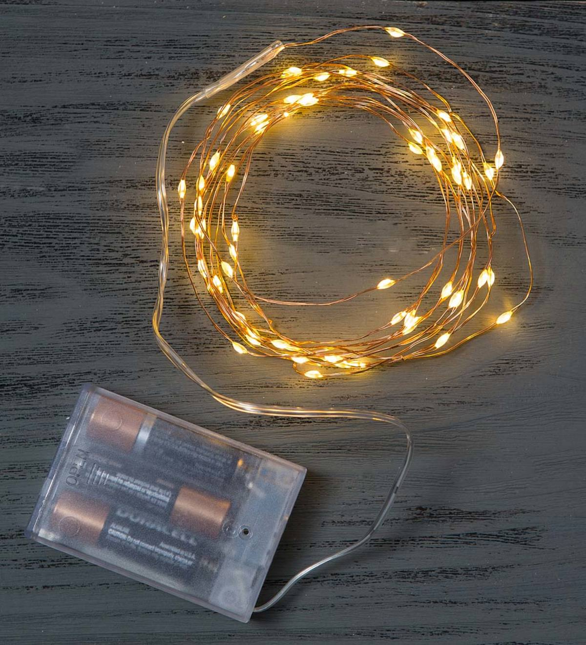 60 White Bendable LED String Lights - Copper Wire