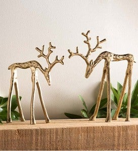 Modern Brass Reindeer Décor, Set of 2