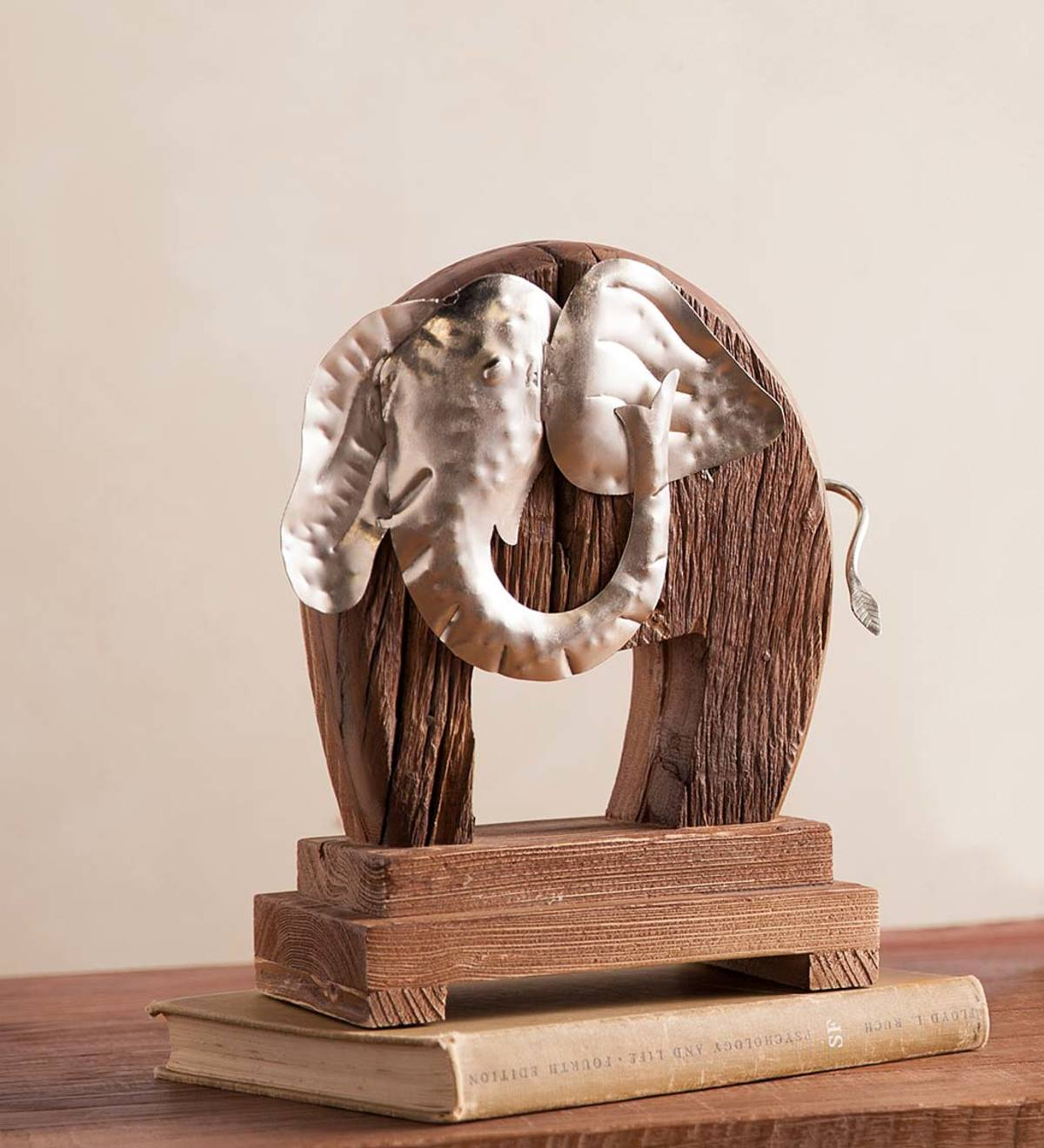Reclaimed Wood and Iron Elephant