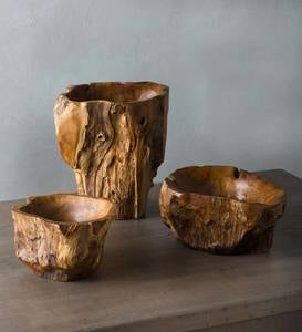 Hand-Crafted Teak Root of the Earth Bowls