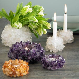 Quartz Crystal Tealight Holders