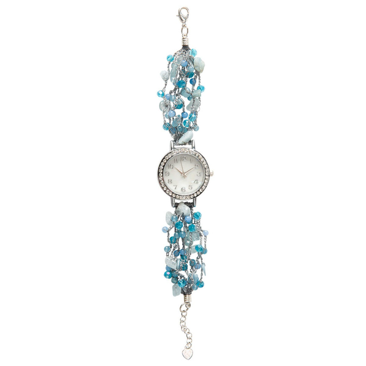 Hand-Beaded Agate And Pearl Watch - Blue