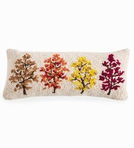 Fall Trees Hand-Hooked Lumbar Pillow