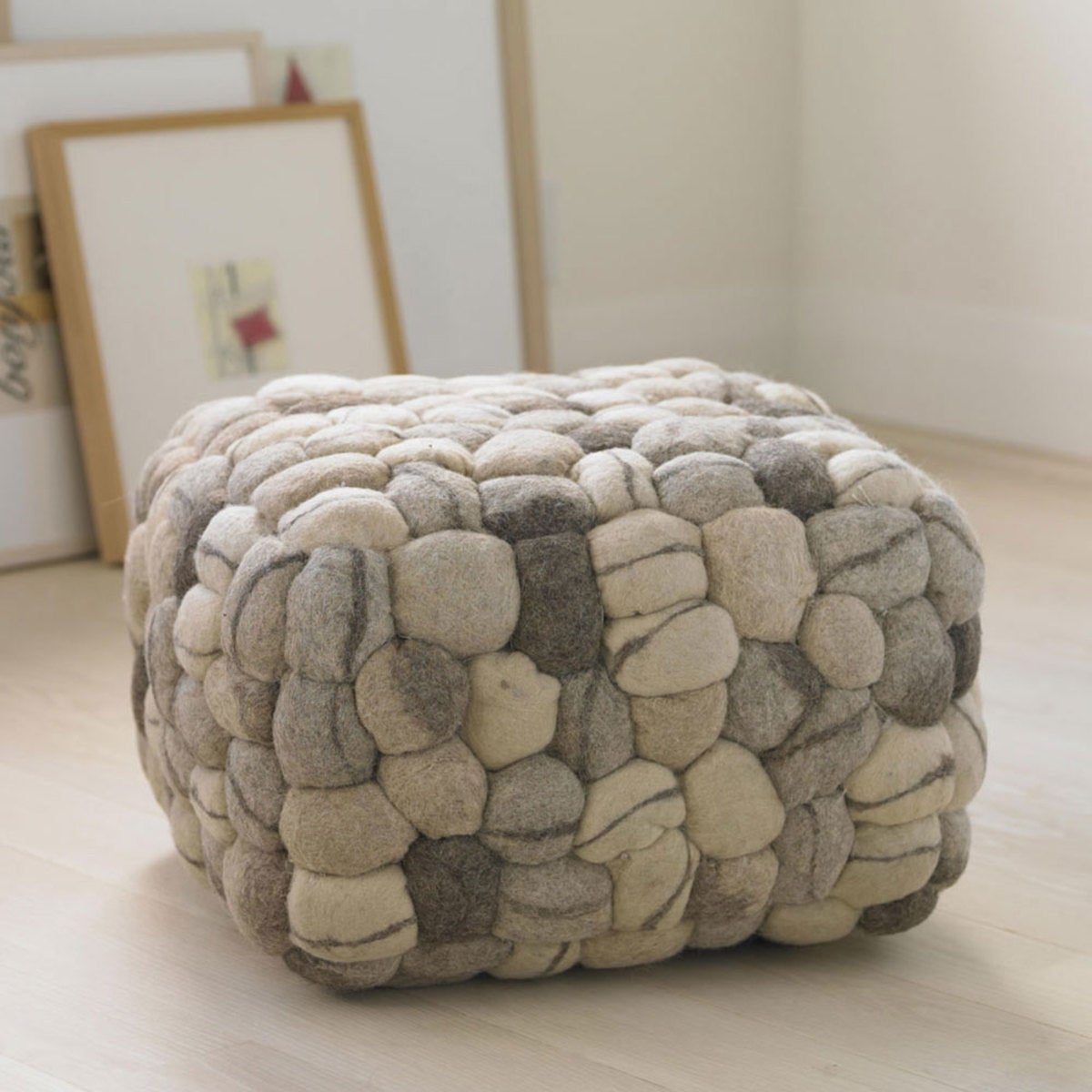 Felted Wool Stone Pouf