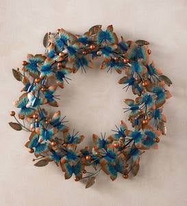 Metal Verdigris Butterfly Wreath