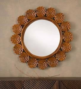 Handcarved Lotus Frame Round Mirror