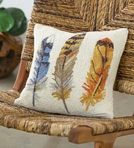 Feather Hooked Wool Pillow