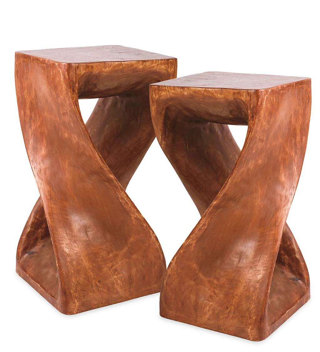 Set of 2 Hand-Carved Twisty Stools - 23""