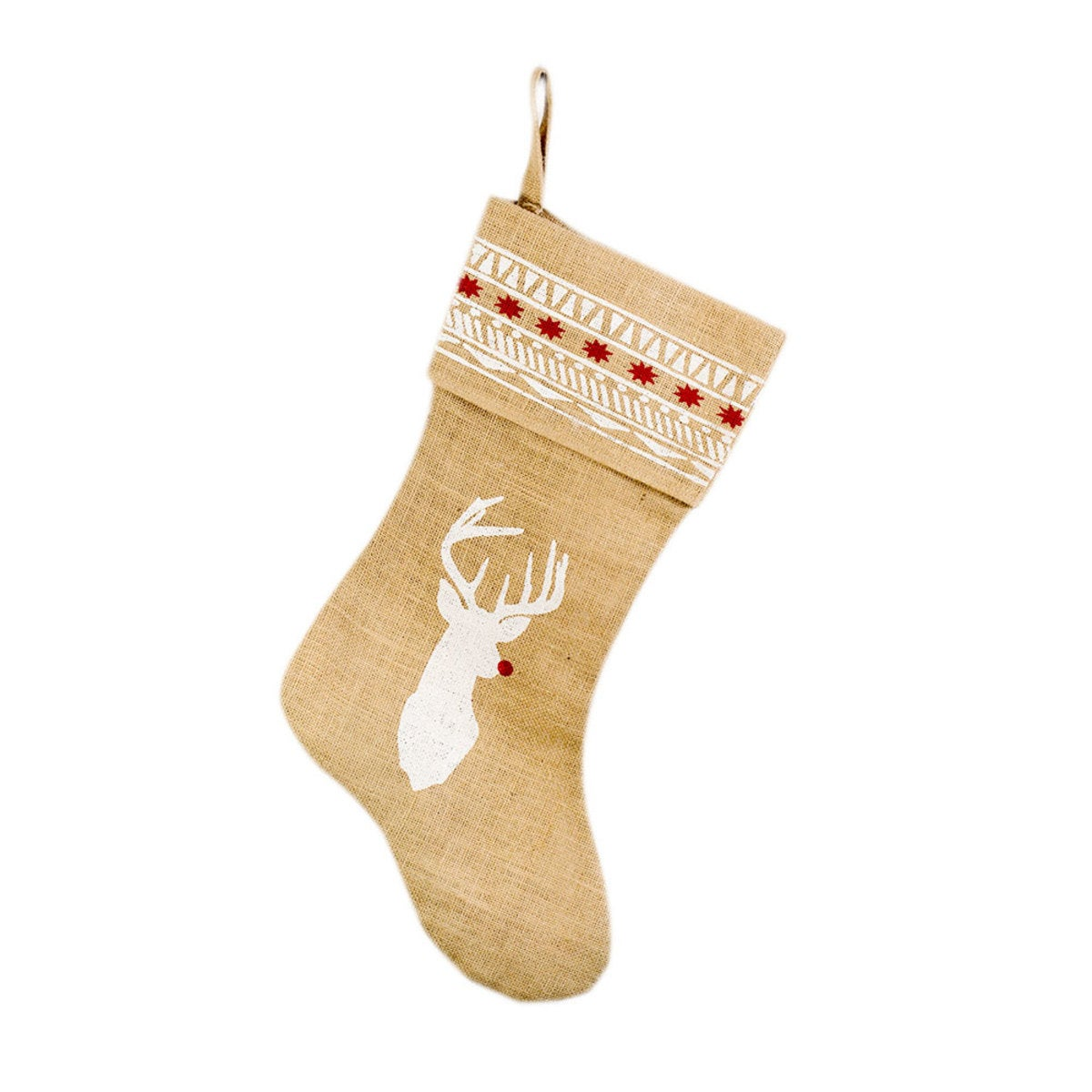 Reindeer Sweater Burlap Stocking