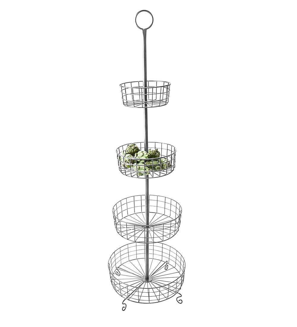 Industrial Four-Tiered Floor Basket