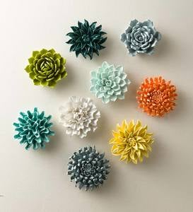 Ceramic Wall Flowers, 6""