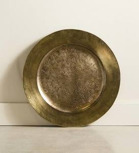 Small Handcrafted Tree of Life Metal Tray - Brass