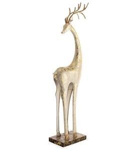 Gold and White Tall Slender Deer Statue Decor, Turned Head