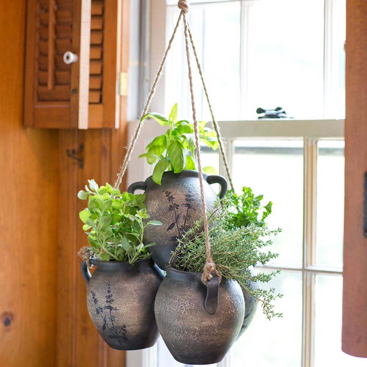 Clay Pot Hanging Herb Planter