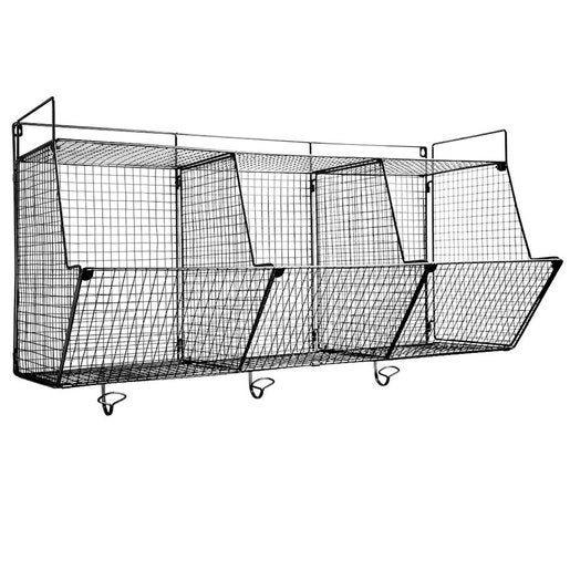 Modular Wire 3-Bin Wall Storage Shelf