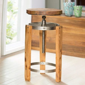 Adjustable Reclaimed Wood Barstool