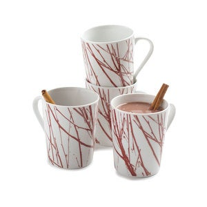 Twigg Porcelain Coffee Mug, Set of 4
