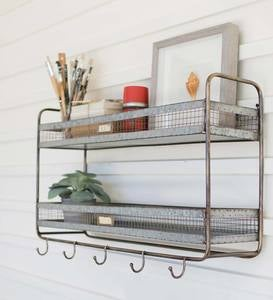 Double Metal Wall Shelf with Hooks