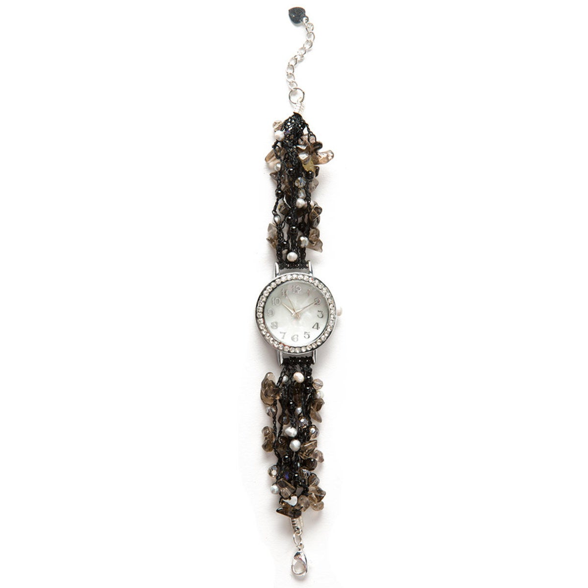 Hand-Beaded Agate And Pearl Watch - Black