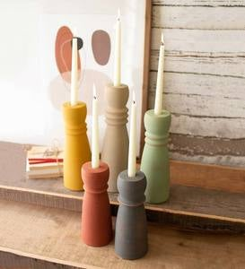 Colorful Clay Taper Candle Holders, Set of 5