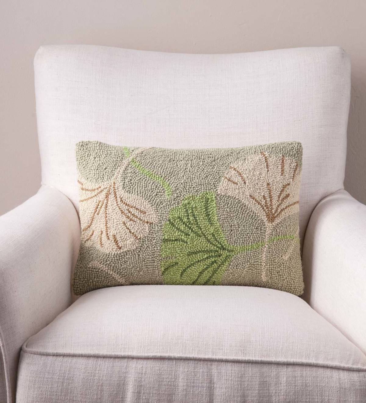 Hand Hooked Ginkgo Leaf Pillows - 12 x 12