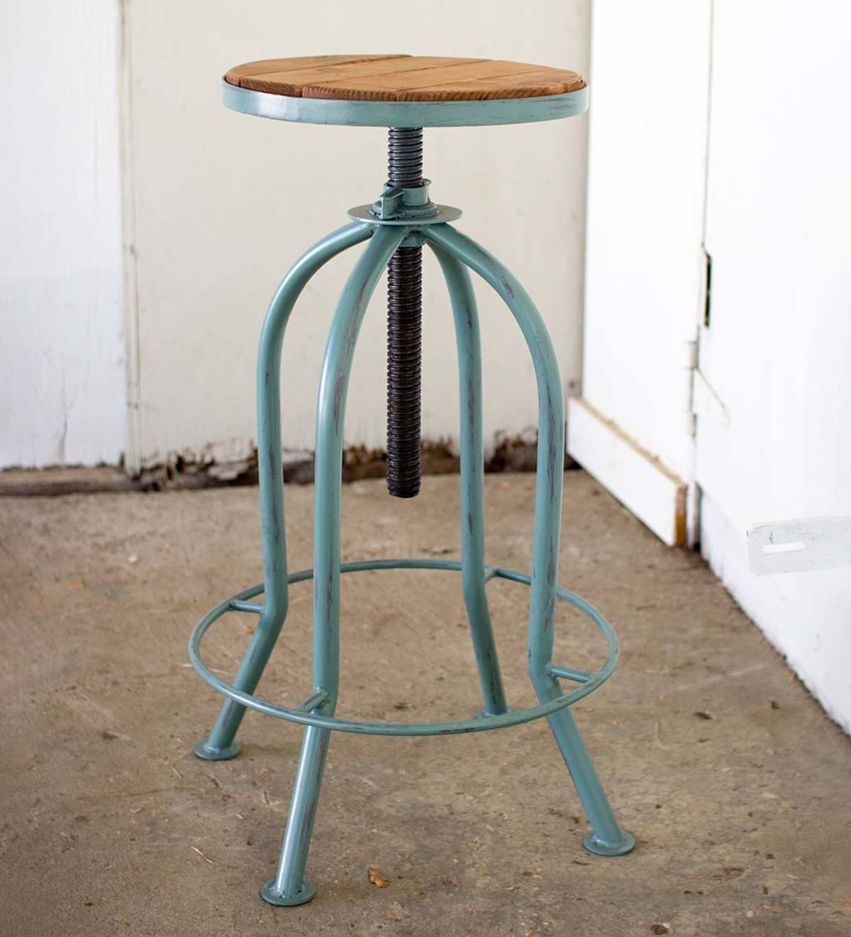 Adjustable Height Bar Stool with Recycled Wood