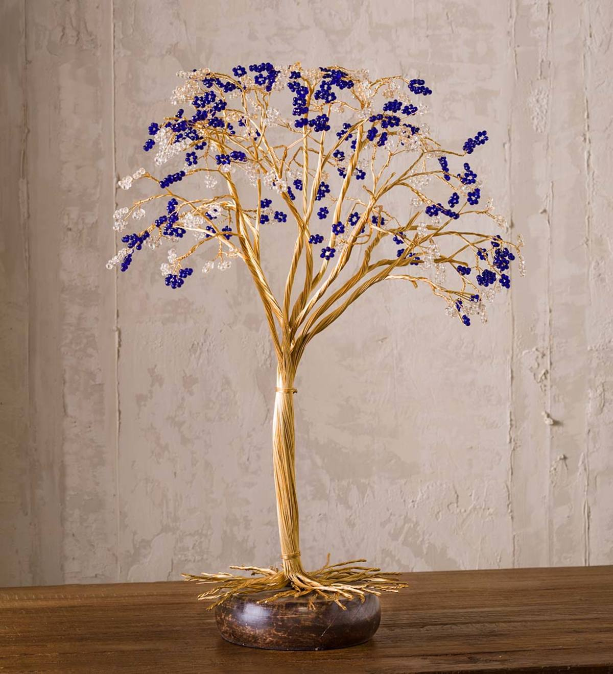 Beaded Tree with Mango Wood Base
